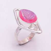 925 Solid Sterling Silver Ring US Size 7, Druzy Gemstone Handmade Jewelry CR972
