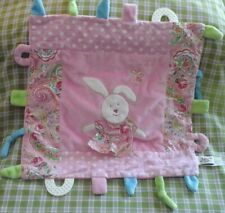 MAISON CHIC Security Blanket Tag Pink Patchwork bunny Teether baby Lovey dots