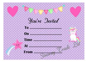 Girls Birthday Party Invitations Pack Of 14 Kids Children's Invites