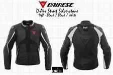DAINESE D-AIR STREET SILVERSTONE LEATHER JACKET - BLACK BLACK WHITE - EU 50