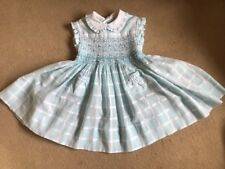EMILY RABBIT/ CLASSIC CLOTHING COMP..BABY GIRLS BLUE CHECK SMOCKED DRESS. 12 M