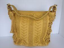 STEVE MADDEN Pale Yellow Purse/Handbag Large Detailed Tasseled Zipper