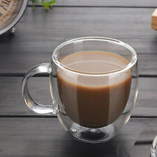 Clear Glass Coffee Tea Cup Heat-resistant Double Layer Glass With Handle 200ml