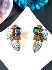 INCREDIBLE M WEST GERMANY SILVER-TONE SPIKED CABOCHON RHINESTONE CLIP EARRINGS