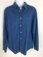 Banana Republic Shirt Grant Slim Fit Blue Denim Long Sleeve Button Up Mens L