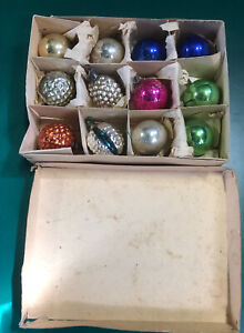 vintage christmas baubles, 1967, Multicoloured, X 12, in box, Used