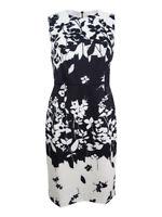 DKNY Women's Sheath Scuba Printed Dress 4, Ivory/Black