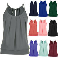 Women Summer Tank Tops Loose Wrinkled O Neck Cami Strap Vest Ladies Blouse Shirt