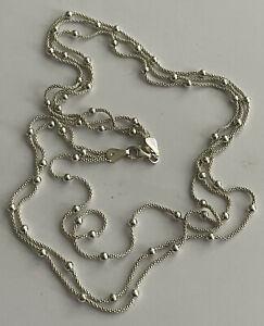 Vintage Italy 925 Silver Multi Strand & Bead Necklace Chain 18 Inch 9.7g Ladies