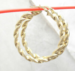 """1.5"""" Technibond Diamond Cut Twisted Hoop Earrings 14K Yellow Gold Clad Silver"""