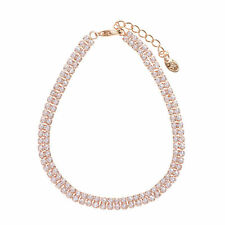 Fashion Sparkling Clear White Rhinestones Rose Gold Plated Chain Tennis Bracelet