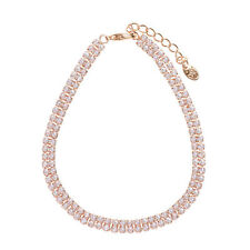 Brand New Clear White Crystals Rose Gold Plated Chain Bracelet Bangle Jewellery