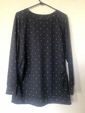 NWT A:Glow Maternity Black White Polka Dot Long Sleeve Tunic Shirt Large L NEW