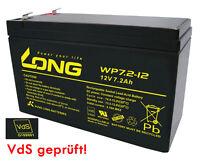 Akku AGM GEL Blei Batterie 12V 7,2Ah LONG WP7.2-12 F1 VdS kompat.f. 7Ah 7,5Ah 7A