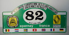 raduno club renault, rencontre europenne des clubs amateurs 1982 rally plate