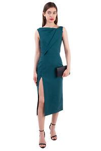 RRP €1690 OSCAR DE LA RENTA Pencil Dress Size S Unlined Slit Front Sleeveless