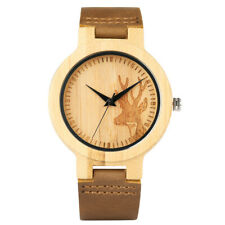 Casual Deer Head Bamboo Nature Wood Genuine Leather Band Strap Wrist Watch Gift
