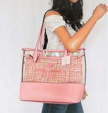 Kate Spade Ash See-Through Tweed large Triple Compartment Tote PInk Multi