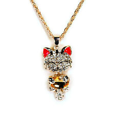 "CUTE SPARKLING CAT NECKLACE 2.25"" Large Rhinestone Crystal Pendant Charm Jewelry"