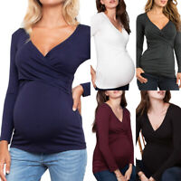 Ladies Maternity Nursing Tops Pregnant Breastfeeding T-Shirt Long Sleeve Blouse
