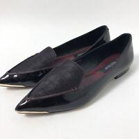 White House Black Market Scarlett Pointed Toe Ballet Flats Patent Burgundy 7 M