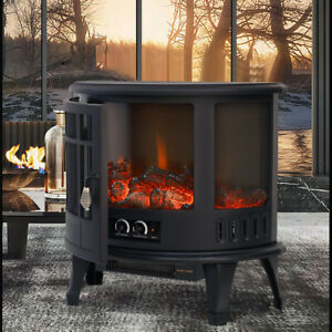 LED Flame Fireplace 1800W 3D Large Panoramic Wood Log Stove Electric Fire Heater