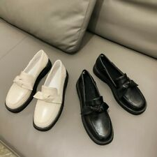 British Womens Oxfords Comfort Flats PU Leather PumpsSlip On College Shoes 34-46
