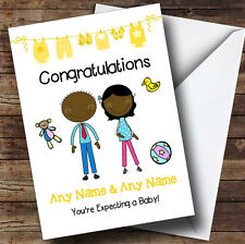 Black Mum To Be Congratulations Expecting A Baby Personalised Pregnancy Card