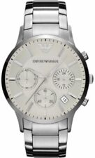 New Emporio ARMANI AR2458 Men's Watch Sportivo Silver-tone Logo Stainless Steel