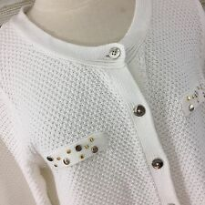 Susan Graver Cardigan Sweater Size L Studded Ivory Silver Gold Cotton