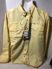 DAKOTA GRIZZLY Yellow Nylon Outdoor Hiking Button Down Shirt Mens Size XL