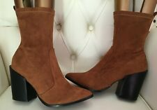 PRETTY LITTLE THING LADIES BROWN FAUX SUEDE ANKLE BOOTS SIZE UK 7 WOMENS