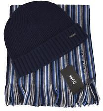 NEW Boss Hugo Boss Men's $145 FADON Blue Stripe Beanie Scarf Boxed Gift Set
