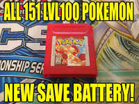 POKEMON RED All 151 GAME AUTHENTIC & NEW BATTERY!!