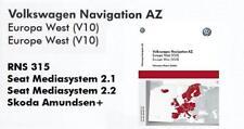VOLKSWAGEN RNS 315 v10 Europa Occidentale 2018 più recente aggiornamento Mappe SD CARD NAVIGAZIONE AZ