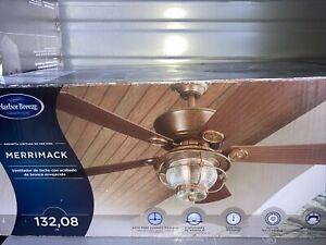 Merrimack 52-in Antique Bronze Downrod Mount Indoor/Outdoor Ceiling Fan with Lig