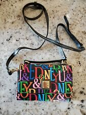 Dooney Bourke Small Mini Crossbody Bag Varsity  Black Multicolor Letters; NEW