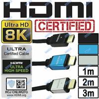 8K HDMI ULTRA HD CERTIFIED CABLE HDR UHD PS5 SKYQ XBOX TV BRAIDED LEADS 1m 2m 3m