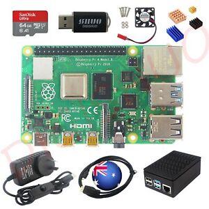 Raspberry Pi 4B Model B 2/4/8GB RAM DIY Kit Case Fan 64G SD Card Micro-SD HDMI