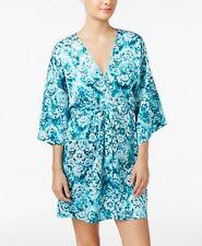 Linea Donatella Jade Medallion Print Charmeuse Wrap Robe New