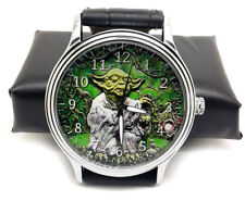 RARE ENGRAVED ART YODA THE JEDI KNIGHT VINTAGE STAR WARS COLLECTIBLE WRIST WATCH