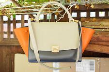 CELINE $2700 Small Trapeze Handbag Multicolour Shiny Smooth Calfskin Tote Bag