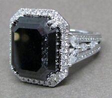 7.00 Ct Emerald Cut Black Diamond Halo Engagement Wedding Ring In 925 Silver