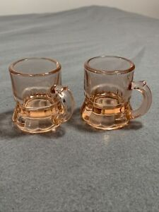 2  Vintage Pink Depression Glass Little Beer Mug Shot Glasses