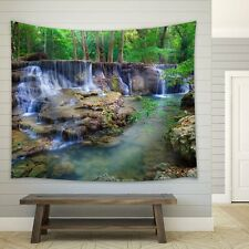 wall26 - Cascading Waterfalls in the Rainforest - Fabric Tapestry - 68x80 inches