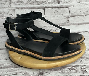 Kork-Ease Zukey Size 6 Womens Sandals Black Suede T Strap Shoes