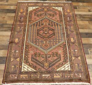 "4'2""x6'6"" Authentic Vintage Handmade Hamedan Mosel wool Oriental area rug Foyer"