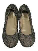 VALENTINO BLACK LACE BALLET FLATS, 38, $695
