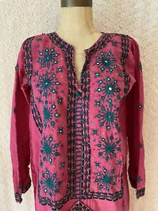 Pink Embroidered Mirrored Afghan Style Dress Small/Medium Vintage Summer Coverup