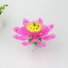 Party Birthday Candle Magic Cake Topper Blossom Musical Rotating Lotus Flower 2p